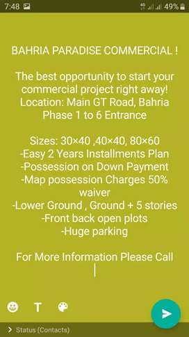 BAHRIA PARADISE COMMERCIAL opportunity to start your commercial