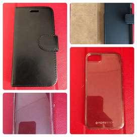 Leather Flip + Totu Sparkling Soft Case Iphone 7/8