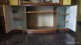 Television table.top  Granite fitted middle etching glass door