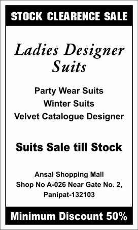 stock clearence sale    branded suits at very cheap price