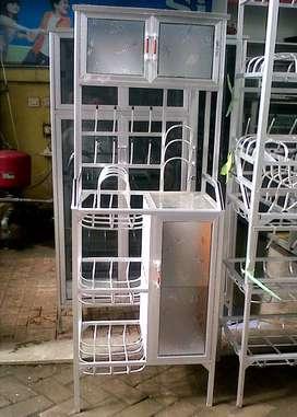 Rak Piring Aluminium 3 Sap 80 (Box Atas 2 Pintu + Samping 1 Pintu)