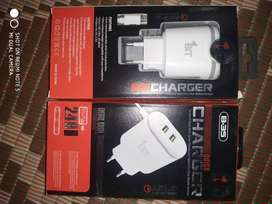 2 port fast mobile charger with cable. Charge 3 mobiles at a time