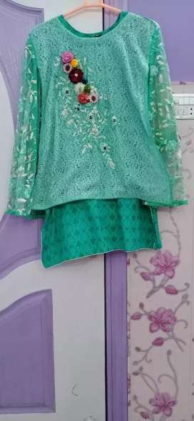 Sea green dress only 1 time use