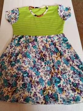Jual Murah dress hijau bunga anak 3-5 th