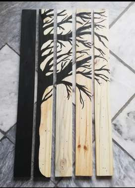 5 pieces wooden handpainting