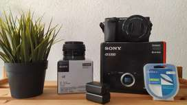 camera mirrorless sony a6300 4k lensa kit & lensa 20mm