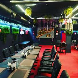 A fully furnished restaurant with fully equipped kitchen.