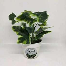Mini Bunga palsu + pot bunga plastik mini size dekorasi rumah