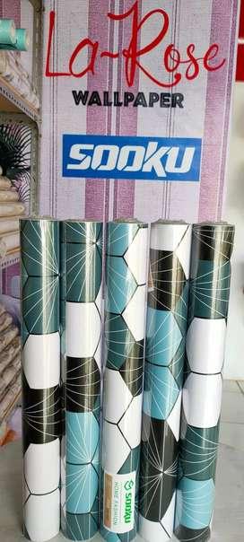 Wallpaper Stiker Dinding Bermotif 45cm x 9m Sooku DS1007