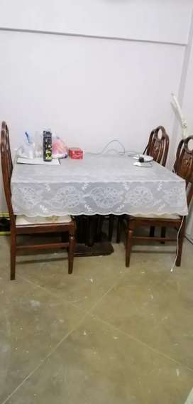 DINING TABLE with 4 wooden chairs