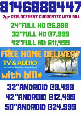 "42""ANDROID smart LED TV with bill 2yr REPLACEMENT guarantee @12,499"