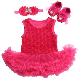 Baby Girl First Birthday Romper Clothing Set - 3 Piece Outfit