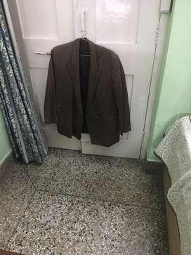 Double waist brown color coat