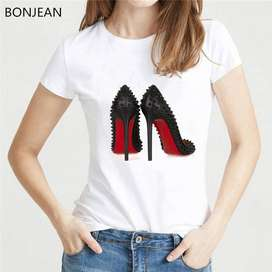 Newest watercolor high heels shoes print vogue t shirt