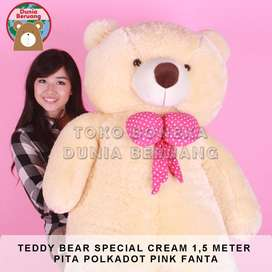 Teddy Bear Cream Special 1,5Meter Pita Polkadot Pink Fanta