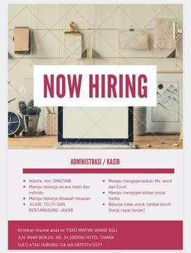 Dicari lowongan kerja administrasi/kasir