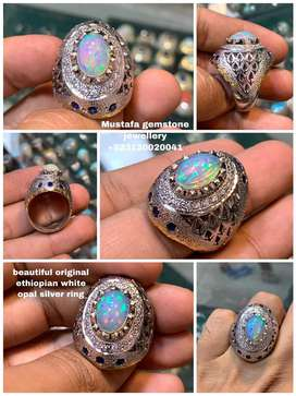 beautiful original white ethiopian opal silver ring