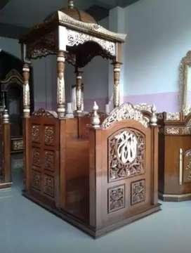 mimbar masjid kubah bahan jati model simple