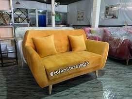 PROMO stok ada sofa tamu minimalis,, mango orange