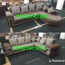 Combination of colors and fabrics..brand new l shaped sofas