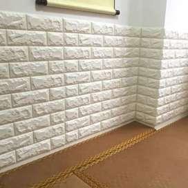 Wallpaper Stiker Big Foam 3D Batu Bata Putih