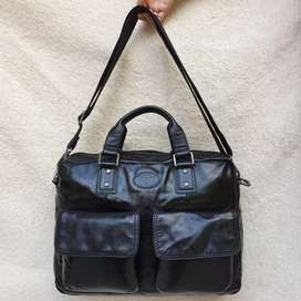 Fossil hitam kulit asli tebal ada tali panjang briefcase