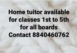 Home tuitor available for classes pre nursery to 5th