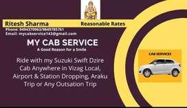 My Dzire cab for hire from Akkayyapalem,  Vizag