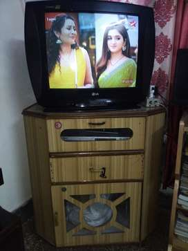 LG 21 inches Colour TV with Wooden Trolly