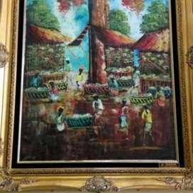 Lukisan kanvas bingkai kayu.P.80x T.100cm.