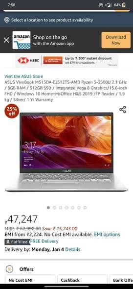 Asus Vivobook 15 brand new 3 days old 8gb ram 512 gb ssd 2 year warant