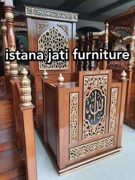 Mimbar masjid khotbah tausiah bahan material kayu jati