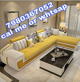 Brand new L shape corner sofa set in yellow color at factory rate