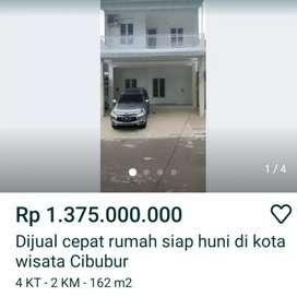 Dijual rumah dikota wisata cibubur jakarta