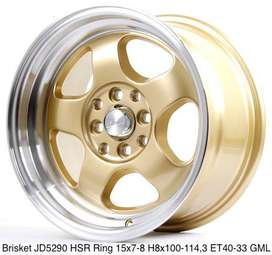 velg racing agya type BRISKET HSR R15X7-8 H8X100-114,3 ET40-33 GOLD-ML