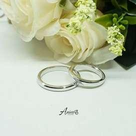 Cincin nikah koleksi terbaru couple emas putih ukir nama+box cincin