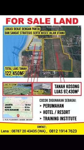 Dijual Tanah Cocok Untuk Hotel, Tempat Training, Perumahan dkt pantai