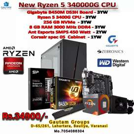 New cpu Ryzen5 3400g b450ds3h bord 8gb ram 450watt SMPS RGB cabinet