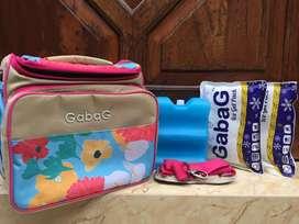 Cooler Bag Merek Gabag motif Bunga-bunga Warna Pink