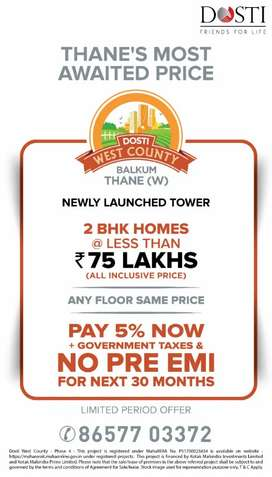 2 bedroom Prime home available for sale in Balkum Thane west