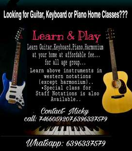 Guitar, Keyboard,Piano & Harmonium Classes at your home