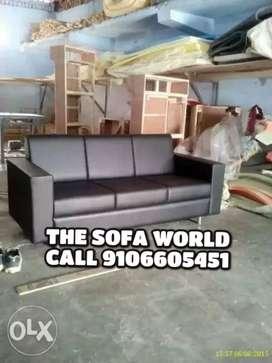 Brand new black leather 3 seater sofa set,
