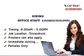 Wanted a female office staff in statue