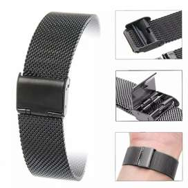 Stainless Steel Watch Strap Straight End Bracelet Mesh Buckle 24mm