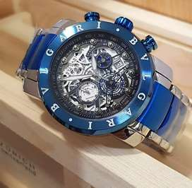 jam tangan mewah bulgari autimatic 3 chrono on biru putih