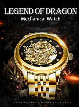 TEVISE Dragon Mechanical Watch Tourbillon Automatic Watches Waterproof