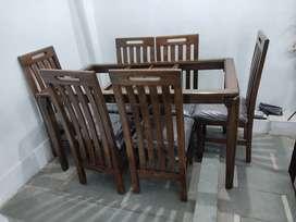 Pure Sagwan Dinning 6 Chair model 12 mm Glass kee sath