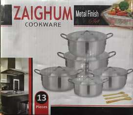 13 pcs- silver degchi set with 3 ckooking spoons cookware set