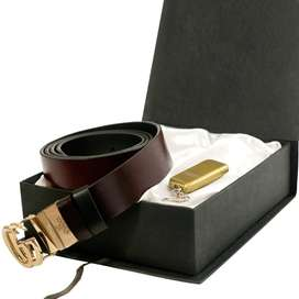 Gift Pack OF 2 Gucci Belt Ferragamo Leather Belt With Keychain Lighter