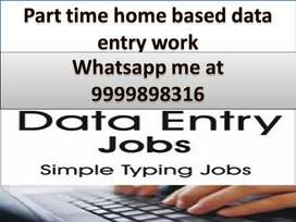 Home based part-time job Data Based typing and Book typing Offline wor